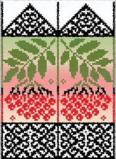 Beautiful mittens / lapaset pihlajanmarja kuviolla