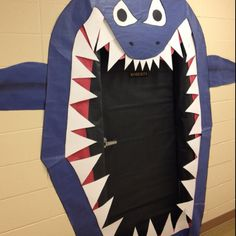 "Under water themed ""shark"" classroom door!!!   Make him look more friendly & he'll be perfect?"