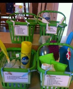 """Kids chore baskets- the kids will like having a basket and their """"tools"""" NEAT WAY TO GET CHILDREN TO HELP CLEAN THE HOUSE AND LETS NOT FOR GET OUR HUSBANDS TOO :)"""