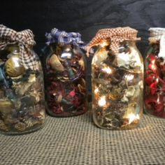 I used to make potpourri light jars during holidays when I was younger!  The lights warm the potpourri just enough for it to smell amazing without catching fire.  Just fill a mason jar with a strand of Christmas lights and some potpourri, cover the top with a square of fabric, and screw on the circle from the lid or tie with ribbon/fabric. Love these!