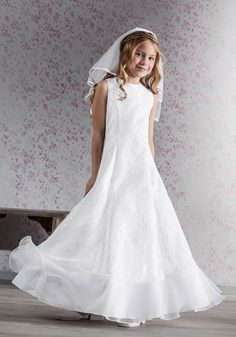 Pre White Satin and Organza A - line First Communion Dress - 70141 ...