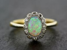 Art Deco Opal Ring Antique 1930s Opal and by AlistirWoodTait
