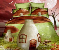 3D ložní povlečení zelené barvy s houbovým domečkem
