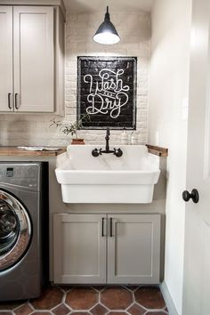 The laundry room was a fun one to get creative and design this mural. It looks similar to one I designed for the laundry room at the farmhouse, and I love the look of it painted on brick.