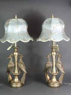 """Pair of 36"""" Tall Resin Peacock Bird Table Lamps w/Shades"""