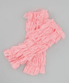 These would be cute under skirts and dresses. Pink Lace Ruffle Leg Warmers by Zuzu's Petals on #zulily today!