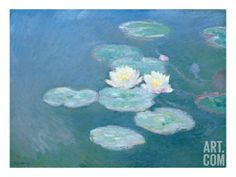 Waterlilies, Evening (Oil on Canvas) (See Detail 382333) Giclee Print by Claude Monet at Art.com