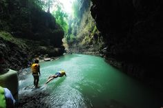 Green Canyon, Pangandaran, Indonesia. One of the best vacation I've ever had! Swimming in a green water surrounded by beautiful cliffs is an unbeatable experience.