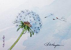 Dandelion In The Wind Print of Watercolor