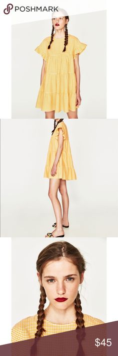 1149d34b5a NWT Zara Yellow Checked Gingham Flowing Dress Checked dress with round neck  and short ruffled sleeves. Flowing skirt with seam detail. Back opening  with ...