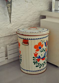 Emma & Mike's Whimsical Home in Brooklyn House Tour   Apartment Therapy - love the hamper/trash can