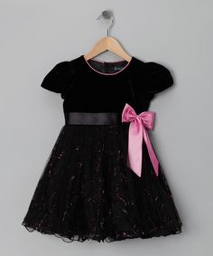 Take a look at this Black & Pink Bow Dress - Infant, Toddler & Girls by S Square on #zulily today!