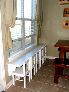 Kids table - 6 foot shelf from Home Depot, shelf braces and chairs from Ikea..what a great idea! Playroom...