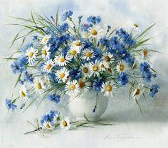 Watercolor Flowers, Watercolor Paintings, Faux Flower Arrangements, Flower Pictures, Botanical Art, Blue Flowers, Collage Art, Flower Art, Beautiful Flowers