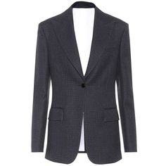 Calvin Klein 205W39NYC Wool Blazer (€1.660) ❤ liked on Polyvore featuring outerwear, jackets, blazers, blue, wool jacket, navy blazer, navy jackets, wool blazer and navy blue jackets