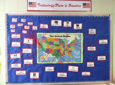 Bulletin Board: Technology Made in America for December since it is Made in America Month Computer Lab Organization, School Computers, 5th Grade Social Studies, Computer Class, Technology Integration, Made In America, Educational Technology, Classroom Decor, Bulletin Boards