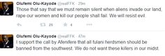 I support Afenifere's call that Fulani Herdsmen must be expelled from Yorubaland- FFK insists