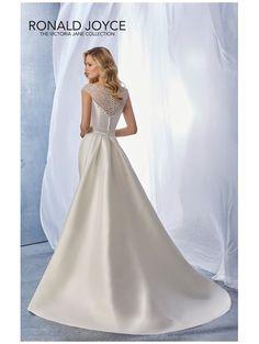RONALD JOYCE 18058 Joanie Mikado Bridal Gown With Detachable Train Ivory Showing beaded illusion neckline