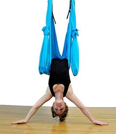 Dasking Dasking 10 Yards10mset Elastic Pilates Yoga Swing Aerial Yoga Hammock includeall Hardware Fabric  Guide Light Blue -- Find out more by clicking the VISIT button