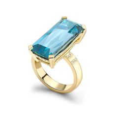 Inspired by the contrast between the deep blue sea and golden sandy shore, the Wave ring from the British brand Theo Fennell is set with an 11.57ct emerald-cut aquamarine and diamonds, mounted in yellow gold