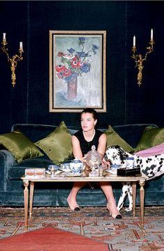 Romy Schneider at Rue Cambon, Coco Chanel's apartment in Paris, 1960