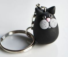 Cat Keyring Keychain Fimo Polymer Clay by SweetnNeatJewellery