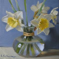 """Daffodils in Vase"" - Original Fine Art for Sale - © Elena Katsyura"