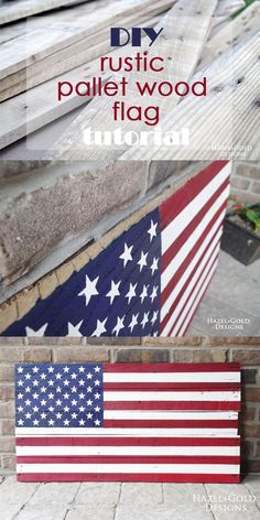 DIY rustic USA pallet wood flag - full tutorial with photos and details on how to customize your own for your space! woodworking, diy flag, usa flag, wooden decor, wooden flag, United States of America flag, patriotism, fourth of july decor, 4th of july d