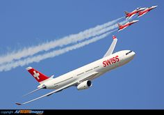 Airbus A330 & Patrouille Suiss Aeroplane Flight, Swiss Air, Airbus A380, Zermatt, Airports, Jets, Airplanes, Switzerland, Air Force