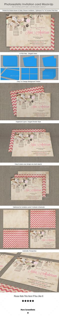 Photorealistic Invitation Card Mock-Up - Product Mock-Ups Graphics