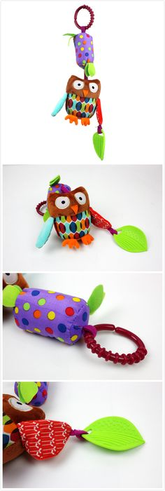 Cartoon Animal Plush Toys Baby Windbell And Teether Toy Stroller Appease for Newborn