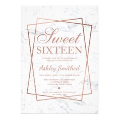 Shop Modern faux rose gold script marble Sweet 16 Invitation created by girly_trend. 21st Birthday Invitations, Bar Mitzvah Invitations, Party Invitations, Sweet Sixteen Invitations, Elegant Invitations, Sweet 16 Birthday, 16th Birthday, Birthday Bash, Card Invitation