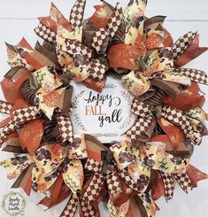 HAPPY FALL Y'ALL! 🌻🌻🌻 This is a bright and cheerful fall wreath that can take you fro September through November! It has a gorgeous handmade sign and loads of wired ribbons Fall Mesh Wreaths, Fall Deco Mesh, Christmas Wreaths, Turquoise Wreath, Pumpkin Wreath, Happy Fall Y'all, Pumpkin Decorating, Burlap Wreath, Fall Wedding