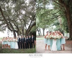 Sea Glass Bridesmaids| Peach, Pink Bouquets| Alhambra Hall Wedding | Mike & Holly » Ava Moore Photography