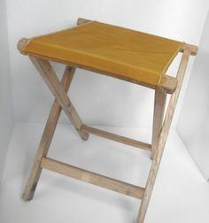 Vintage Camp Stool. Foldup. Canvas Seat by UniquelyYoursbyCil