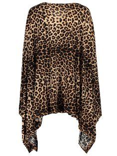 Charming 1/2 Batwing Sleeve Leopard Print Asymmetric Loose Dress For Women - LEOPARD L