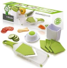 Deluxe Cook V-Blade Mandoline Slicer - French Fry Cutter - Hand-Held Stainless Steel Vegetable Slicer & Julienne Tool - 4 Blades - Easy to Clean Fruit Slicer, Veggie Chopper & Potato Chip Slicer deluxe cook Potato Chip Slicer, Potato Chips, Cool Kitchen Gadgets, Cool Gadgets, Smart Kitchen, Apple Green Kitchen, Spiral Vegetable Slicer, French Fry Cutter, Compact