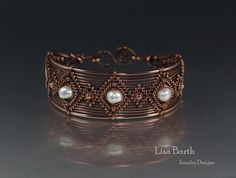 Copper and Pearl Hand Woven Bracelet by LisaBarthJewelry on Etsy