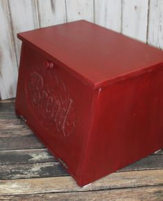Wood Bread Box - Rustic Red wooden Carved door BREAD - Storage Primitive Box - counter top Vintage inspired Country Kitchen - handmade