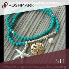Beach Charm Bracelet This Aqua colored 2 piece bracelet comes with 3 charms as shown and is stretch to fit any sized wrist. Dress it up or dress it down, this bracelet will go with almost everything you love to wear at the beach!    *Shop this & more below - www.spreesy.com/seagoddessjewelry * Use coupon code MERMAID & receive 10% off your entire purchase. (Coupon code works on my website only)   *Items purchased through Poshmark will ship same day and discounts offered on bundled items…