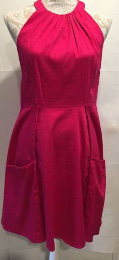 Jessica Simpson Fit and Flare Fuchsia Open Back Knee Length Pockets Dress Size 8 #JessicaSimpson