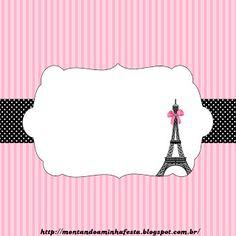 kits imprimíveis Montando a minha festa: Paris preto e rosa