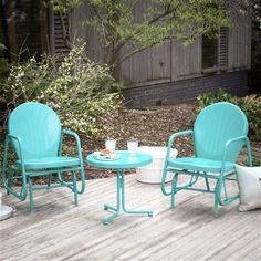 Turquoise Retro Patio Set Metal Outdoor Glider Chairs Side Table 3 Piece  Deck