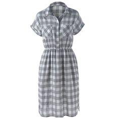 Stylish Women's Turn-Down Collar Short Sleeve Slit Plaid Dress — 14.71 € Size: XL Color: GRAY