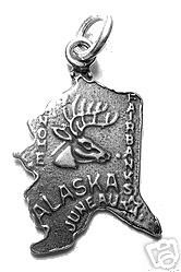 Fairbanks Alaska State Map USA Sterling Silver Charm Sterling Silver 925 Jewelry