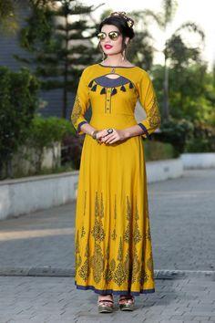 Buy Angellic Yellow Reyon Print with Fancy Kurti Dress Neck Designs, Blouse Designs, Printed Kurti Designs, Yellow Kurti, Indian Designer Outfits, Designer Dresses, Fancy Kurti, Kurti Patterns, Kurta Designs Women