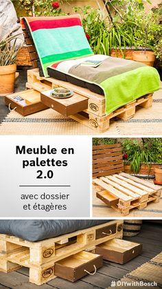 Build pallet furniture: DIY pallet sofa with backrest and drawers Diy Pallet Sofa, Diy Pallet Furniture, Outdoor Furniture Sets, Table Palette, Palette Diy, Diy Chair, Diy Desk, Palette Garden Furniture, Home Crafts