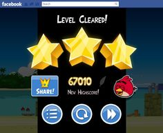 Facebook Angry Birds 3 stars