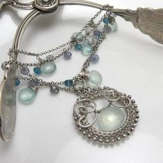 Canteries - wire wrapped bracelet with aqua chalcedone, apatite, mystic quartz and tanzanite #jewelry #necklace $99
