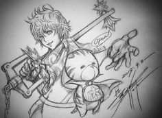 Tetsuya Nomura has released a sketch to celebrate the launch of Kingdom Hearts Unchained χ! http://kh13.com/news/kingdom-hearts-unchained-%CF%87-now-available-in-japan-for-ios-android …